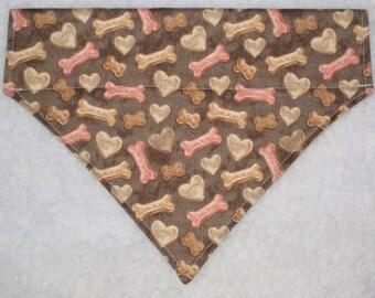 Hearts & Bones Dog Bandana -  Over the Collar Bandana - Pet Accessory - Ready to Ship