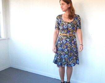 SALE Vintage 90s Mini-Dress - Blue & Green Floral Print Button-Up Full Skirt - SM