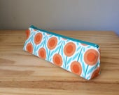 Slim Pencil Case, Organic Cotton Pencil Case, Orange Flower Pouch, Floral Print Pouch, Organic Collection