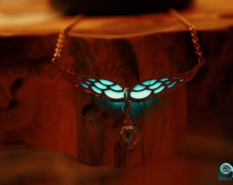 Rose Gold Angel WINGS Necklace GLOW in the DARK