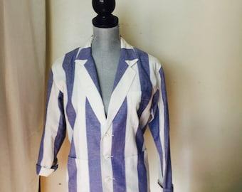 NWT Liz Wear Vintage White Blue Women's Size PP (2-4) S Vertical-Striped Blazer