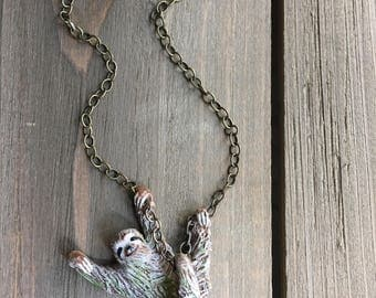 "Sloth Necklace - Three-Toed Sloth -  18"" Necklace - Made To Order in antique bronze or silver chain"