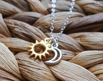 sun and moon necklace | mixed metals jewelry | sterling silver | day and night | dainty charm necklace | everyday necklace | gift for her