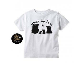 Peppa Fam Unisex Shirt or Bodysuit Black or White Fun Printed Tee