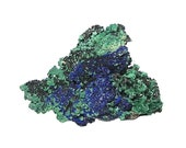 Azurite Blue Crystalline Sparkly Druzy and Green Malachite Geology Mineral Specimen mined in Mexico in the 1980s Earth Gem