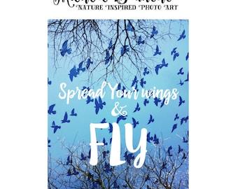 Inspirational Typography Photo Blue Sky Birds, Spread Your Wings Photo, Nursery Art, Inspirational Sky Trees Art, Print, Photo Decor