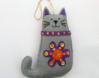 felt cat ornament, cat decor, cat lover gift, cat lovers, handmade cat, catlady, cat tree ornament, cat gift, floral cat, gift for her,