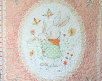 Baby Girl Quilt Blanket, Pink, White, Bunny, Bunnies, Butterflies, Daisies, Minky, Quiltsy Handmade