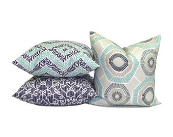 Pillow SET of THREE. Throw Pillow, Pillow Cover, Cushion, Decorative Pillow, Aqua Blue, Blue Pillow.Blue Toss, Cushion,cm.Pillow Cover Set