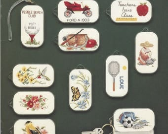 """Clearance - """"Bag Tag/Key Tag Stitchers' Medley"""" Counted Cross Stitch Chart by Fond Memories, Inc."""