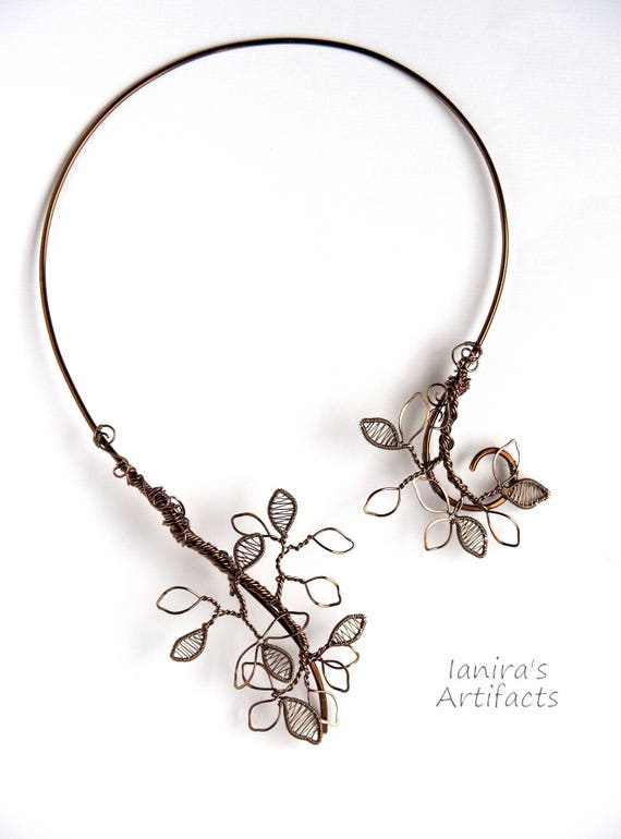 Leafy wire collar necklace choker Nature wire wrapped jewelry Anniversary gift for wife her mother New Year's leaf bronze wedding bridal
