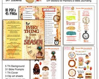 Seasons Bible Journaling Travelers Notebook or Wide Margin Bible Kit  Art  45 Art Bible Images for Bible or Travelers Notebook Planner