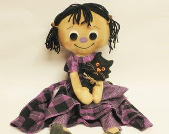 Annie Doll with Black Cat, Halloween Decor, Primitive Dolls, Annie Dolls