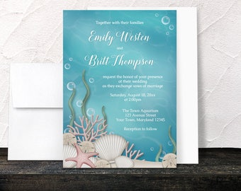 Under the Sea Wedding Invitations - Whimsical Underwater design - Aquarium - Aqua Blue and Beige - Printed Invitations