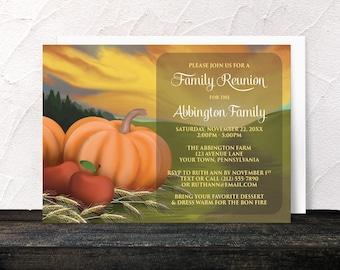 Autumn Harvest Family Reunion Invitations - Rustic Country Pumpkin Apples Hay Farm Fields - Printed Invitations