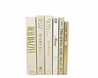 Ivory White BOoks, Cream Decorative Books, Beige Book Bundle, Book Collection, Old Book Decor, WEdding Decor, BOok Set, interior home decor