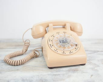 Vintage Tan Rotary Dial Land Line Desk Phone by Bell System