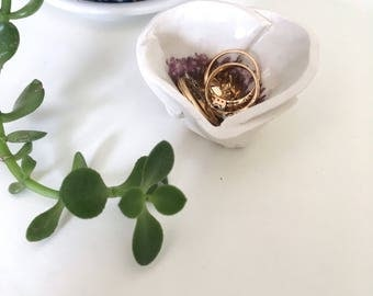 RING DISH handmade recycled porcelain and gold folded ceramic floral vessel mini