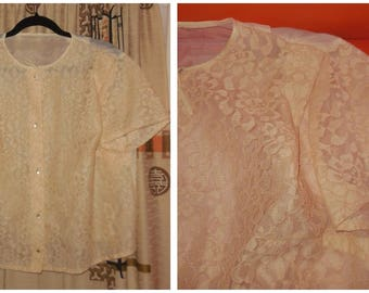 Vintage 1950s 60s Blouse Beige Floral Net Lace Sheer Nylon Bow Short Sleeve Blouse Rockabilly XL chest to 48 in