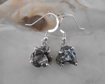 METEORITE  Silver Wrapped Earrings Set