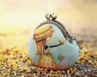 """Kiss lock coin purse cotton linen fabric """"My little bird"""""""