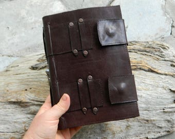 Leather Notebook Brown Leather Journal Blank Page Notebook Recycled Leather Journal by Ariom Designs