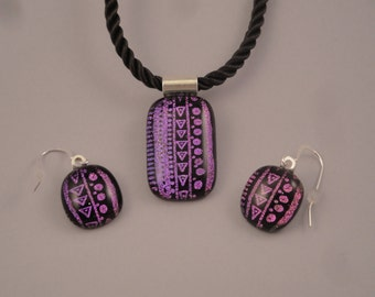 Dichroic Fused Glass Pendant and Earring Set - BHS03701