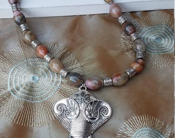 Bohemian Elephant and Jasper necklace and earring set