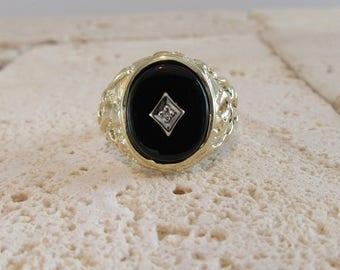 Black Onyx and Diamond Ring, Black Onyx Ring, Yellow Gold Black Onyx Ring, Vintage Black Onyx Ring, Vintage Black Onyx and Diamond Ring