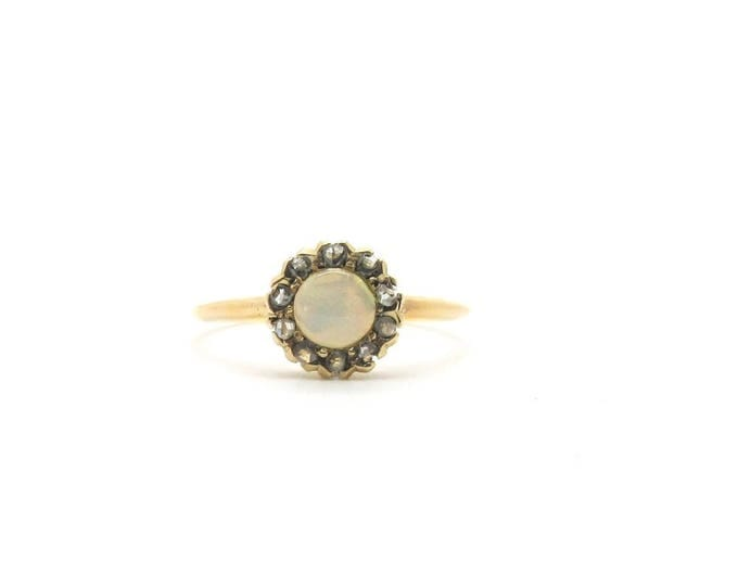 Yellow Gold Opal and Rose Cut Diamond Ring, Vintage Opal Ring, Antique Opal and Rose Cut Diamond Ring, October Birthstone, Birthstone Ring