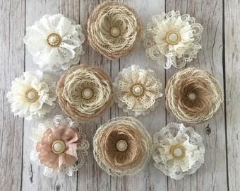 burlap lace flowers, handmade flowers hwedding cake, bridal bouquets, headbands, set of 10