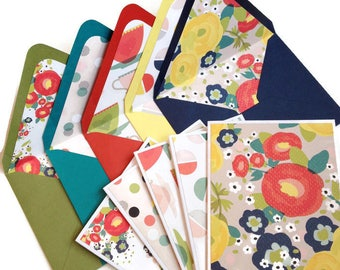 Set of 5 // Blank Note Card Set // Blank Stationery // Lined Envelopes // Decorative Envelopes // Floral Note Cards // Handmade Envelopes