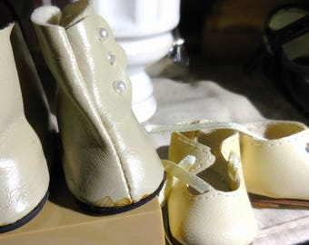 Doll Shoes and Boots Beige Ecru New / Old  Doll Shoes Ships Free