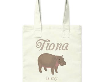 Fiona is My Spirit Animal Tote Bag Hippo Satchel Books Craft Project Sewing Knitting Crochet Cincinnati Zoo  Librarian Teacher Gift Market
