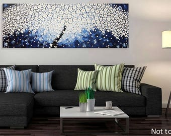 Large Painting Tree White Flower Wall Art Decor Blue Art Textured Art 72 x 24 Ready to Hang Made to Order art by ilonka