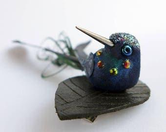 Hummingbird Fascinator, little black bird grip, birdie hair slide, faux taxidermy bird ornament