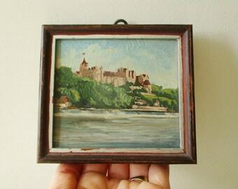 Vintage miniature little painting, 1950s, Still life, Landscape, Peinture, Paysage, France