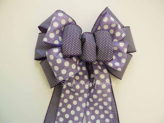 Deep Purple Lavender Wreath Bow Purple Easter Wreath Bow Purple Lavender White Dots Polka dots Birthday Party Decoration Shower Gifts Bow