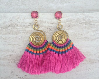 Hot Pink Tassel Fringe Earrings, 24K Gold Plated Magenta Glass Gemstone 925 Sterling Silver Ear Posts, Holiday, Party, Bridal, Weddings