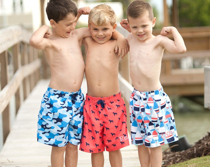 Boys Swim Trunks, Monogrammed Swim Trunks, Boys Monogrammed Swim Trunks, Boys Personalized Swimsuits