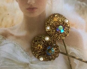 Gold Honey Topaz Reign Bridal Decorative Hair Pins 1930 1940 Vintage Wedding West Germany Bobby Pins
