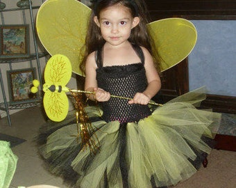 Bumble Bee Costume Flower Girl Tutu Dress with Wings, Wand and Antenna Headband