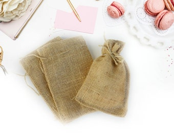 Burlap Favor Bags, 4x6, Jute Drawstring Bags, Baby or Bridal Shower Favors, Rustic, DIY, Country, Chic, Wedding Party Supplies, Pack of 10