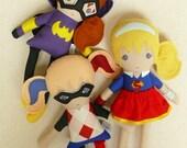 Reserved for Alison - Fabric Dolls Rag Dolls, 3 Custom Superhero Dolls in 15 Inch size