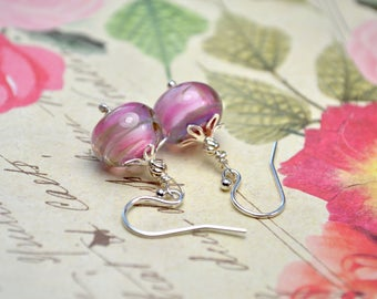 Pink Lampwork Earrings, Sterling Silver Delicate Earrings, Soft Pink Earrings, Lampwork Jewelry, Pink & Green Drop Earrings, Birthday Gift