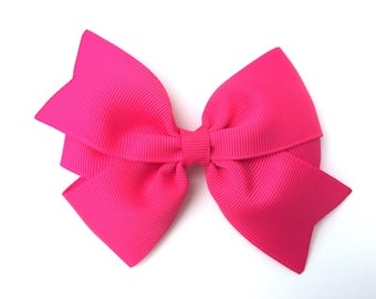 4 inch hot pink hair bow - hot pink bow, 4 inch bows, pinwheel bows, girls hair bows, girls bows, toddler bows, pink hair bows, hair clips