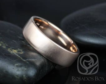 Rosados Box Dax 7mm 14kt Rose Gold Rounded Pipe Matte or High Finish Band (Chic Classics Collection)