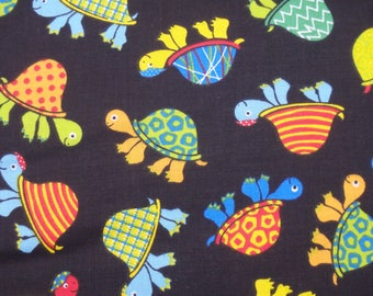 Turtle Fabric, Turtles Fabric, Black Quilting Cotton, Colorful Turtles on Black, By the Half Yard