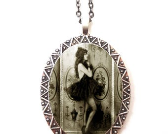 Flapper Ziegfeld Follies Necklace Pendant Silver Tone - Art Deco 1920s Showgirl Dancer Roaring 20s Ballerina Tutu
