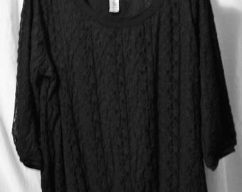 Black, Stretch Lace, Top, Size XL, 3/4 sleeve, Covington, Summer, Classic Basic Top, School clothes